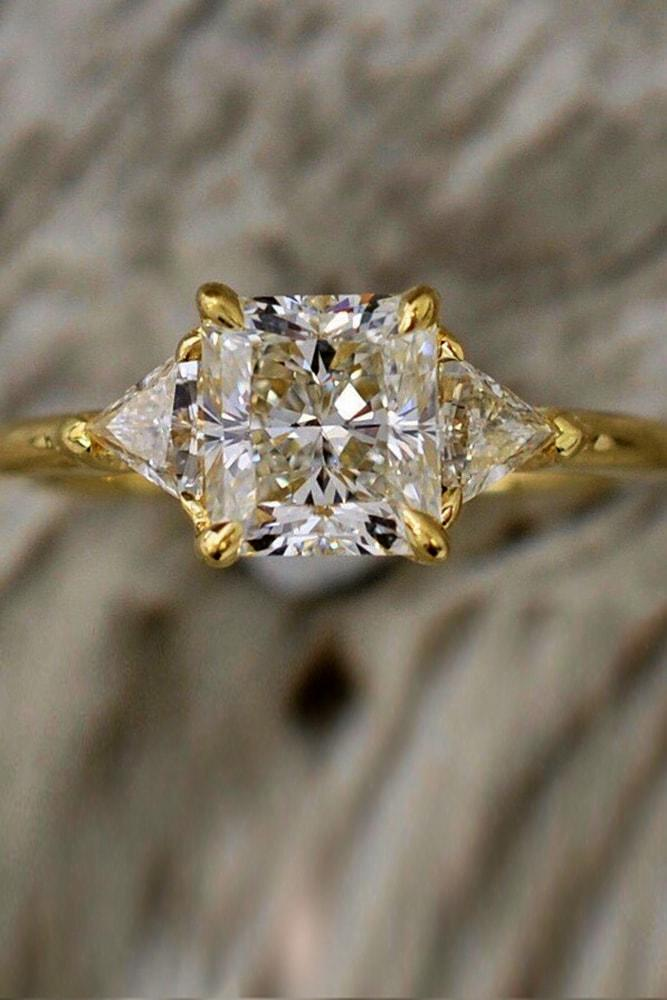 yellow gold engagement rings three stones princess cut diamond simple pave band brilliant