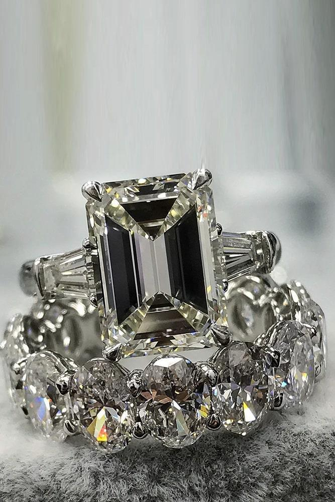 bridal sets diamond wedding ring sets emerald cut engagement rings beautiful wedding rings unique wedding ring sets