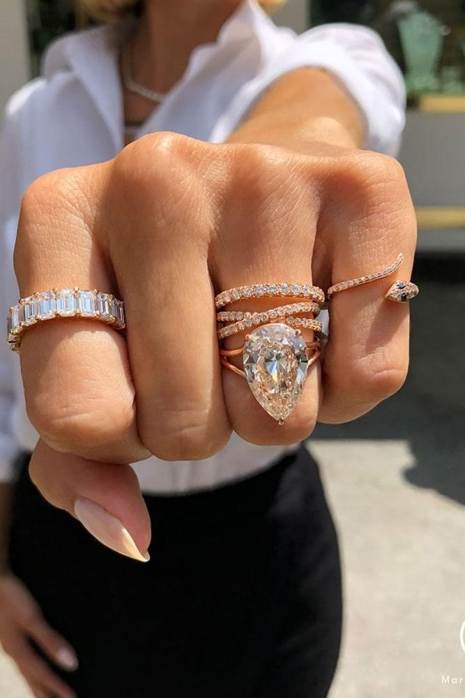 bridal sets diamond wedding ring sets pear cut engagement rings beautiful wedding rings unique wedding ring sets