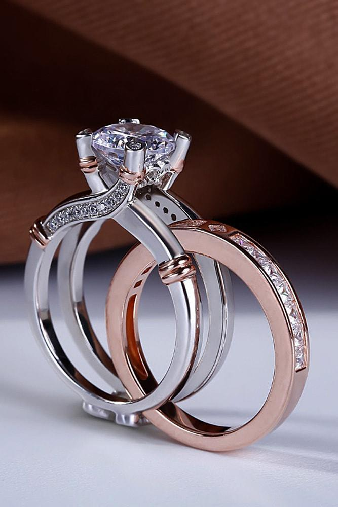 bridal sets two tone bridal sets unique engagement rings diamond engagement rings wedding ring sets for woman best engagement rings