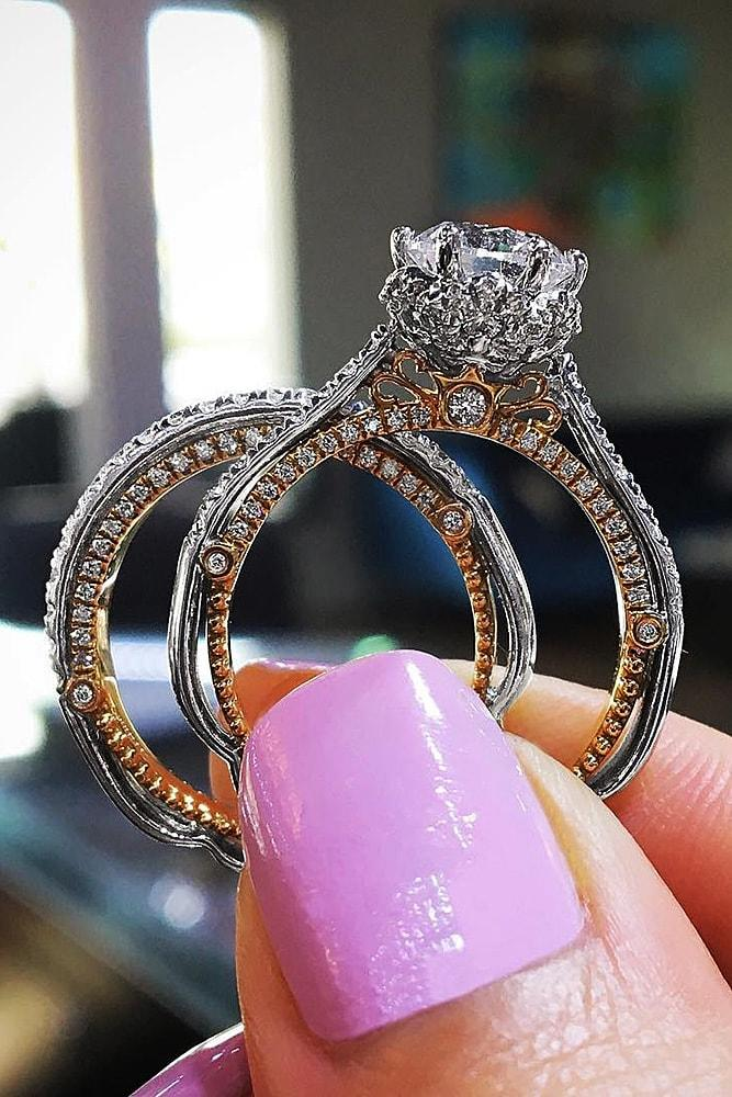 bridal sets two tone bridal sets unique engagement rings diamond engagement rings wedding ring sets for woman