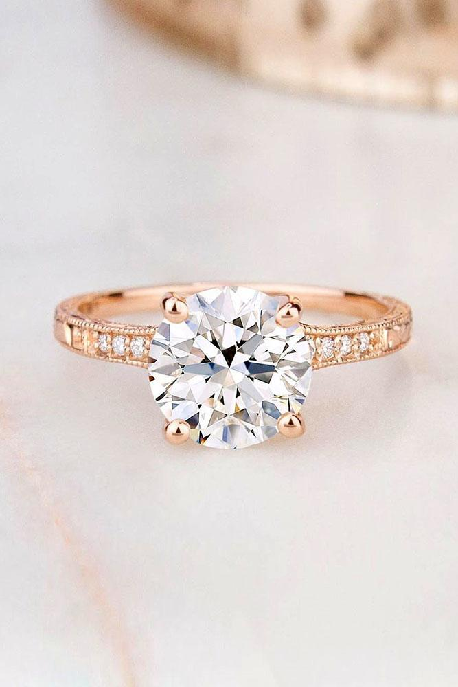 brilliant earth round cut engagement ring rose gold engagemgent ring pave band