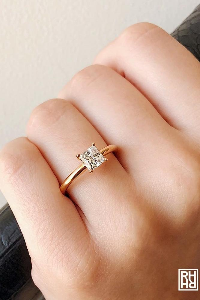 classic engagement rings rose gold engagement rings princess shaped diamond rings proposal rings