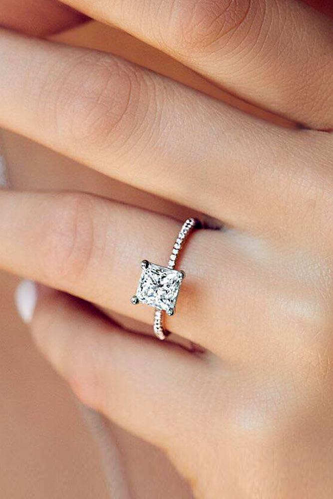 classic engagement rings white gold engagement rings princess shaped diamond rings proposal rings pave band
