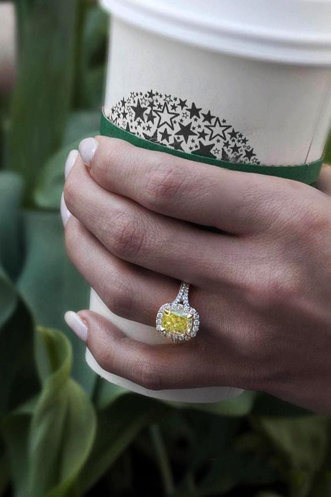 emerald engagement rings yellow diamond engagement rings white gold engagement rings emerald cut yellow diamond halo rings split shank