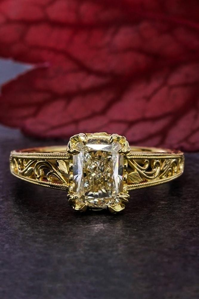 emerald engagement rings yellow gold emerald cut yellow diamond pave band unique floral elements