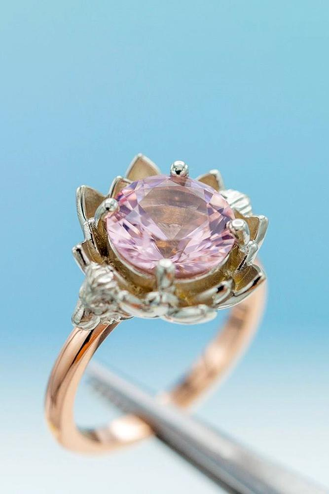 morganite engagement rings rose gold engagement rings floral engagement rings