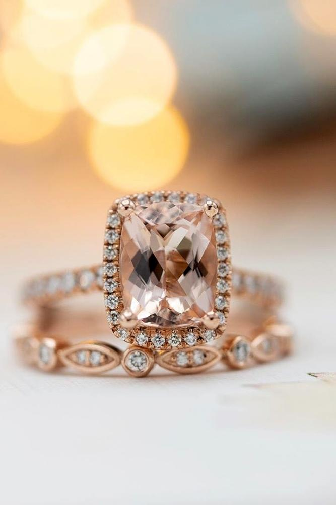 morganite engagement rings rose gold engagement rings halo engagement rings