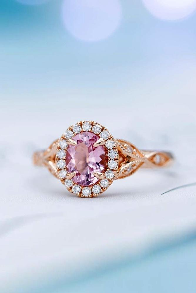 morganite engagement rings rose gold engagement rings halo engagement rings oval rings