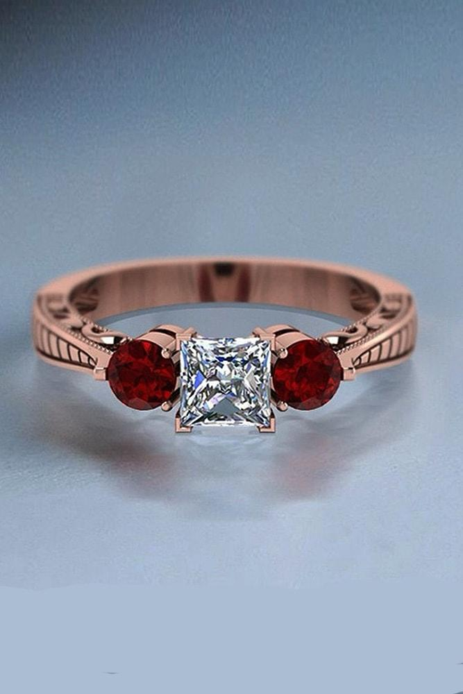 princess cut engagement rings three stone engagement rings rose gold engagement rings ruby rings