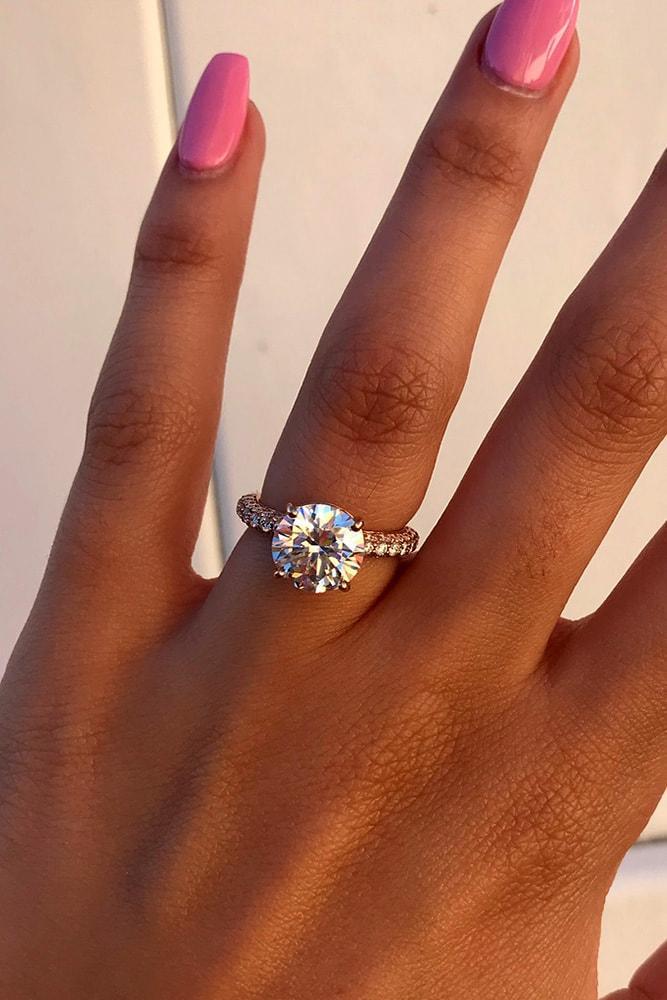 ritani engagement rings rose gold engagement rings diamond rings round engagement rings pave band