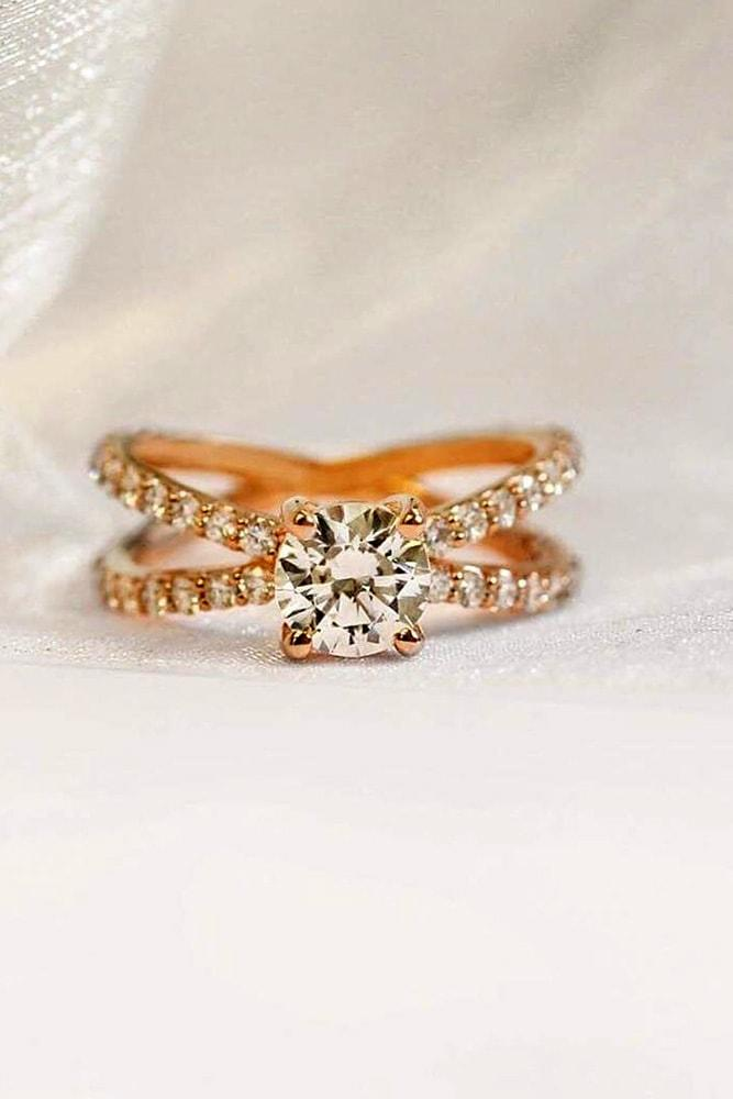 ritani engagement rings rose gold engagement rings diamond rings round engagement rings pave split shank rings