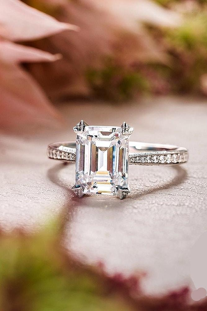 solitaire engagement rings classic engagement rings white gold engagement rings emerald cut engagement rings