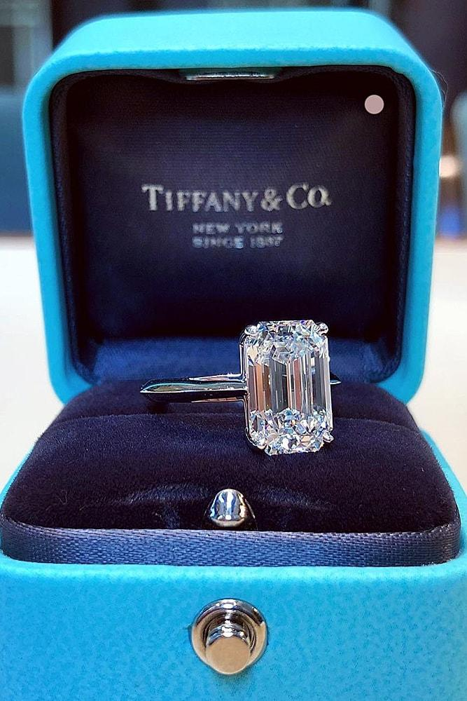 solitaire engagement rings simple engagement rings white gold engagement rings emerald cut engagement rings
