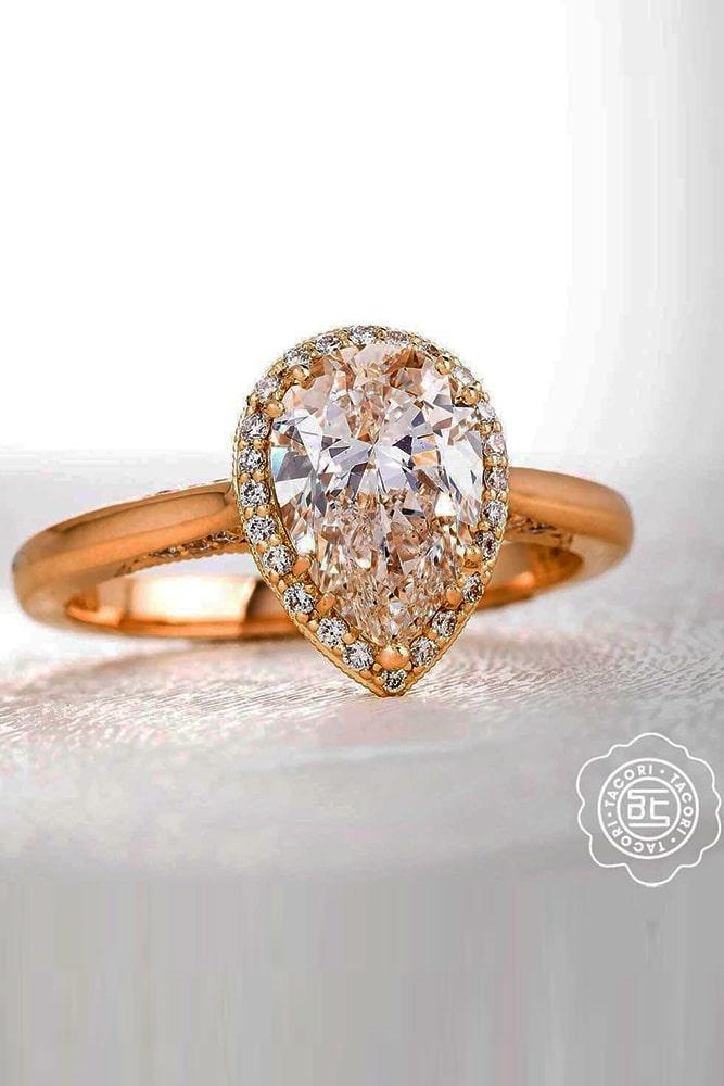 tacori engagement rings diamond halo engagement rings rose gold engagement rings pear cut engagement rings classic rings