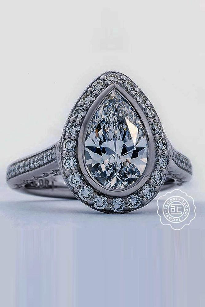 tacori engagement rings diamond halo engagement rings white gold engagement rings pear cut engagement rings