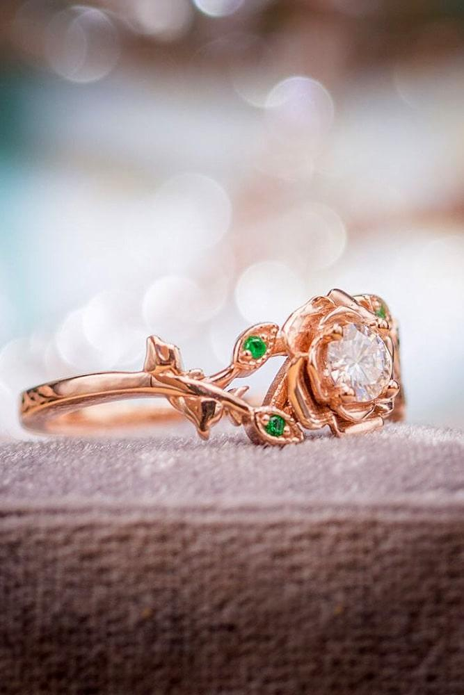 unique engagement rings rose gold engagement rings flower engagement rings floral engagement rings