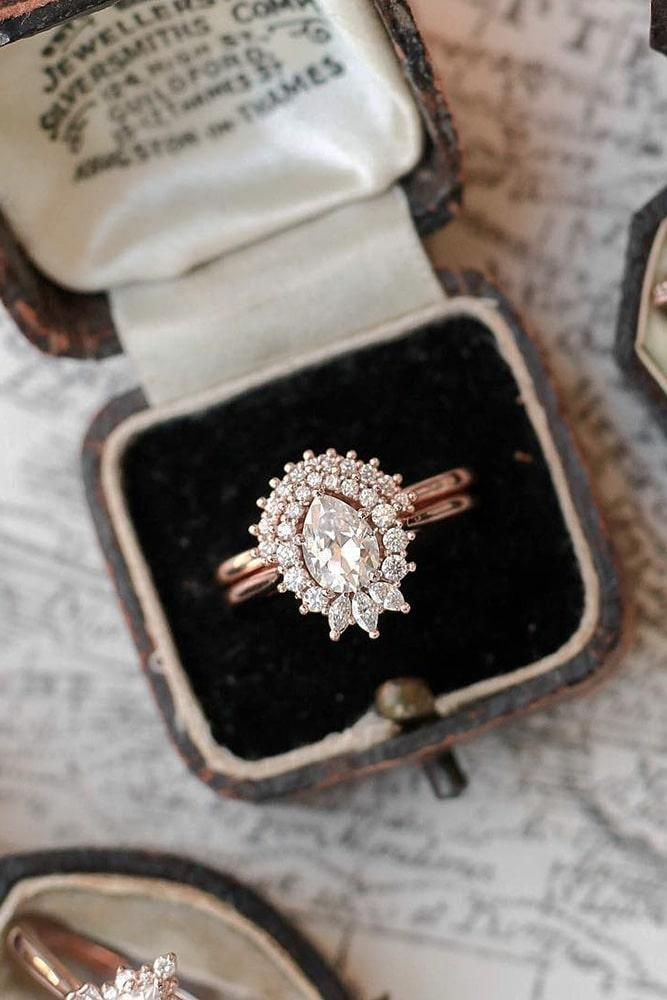 unique wedding rings diamond engagement rings pear cut engagement rings modern engagement rings rose gold wedding ring sets