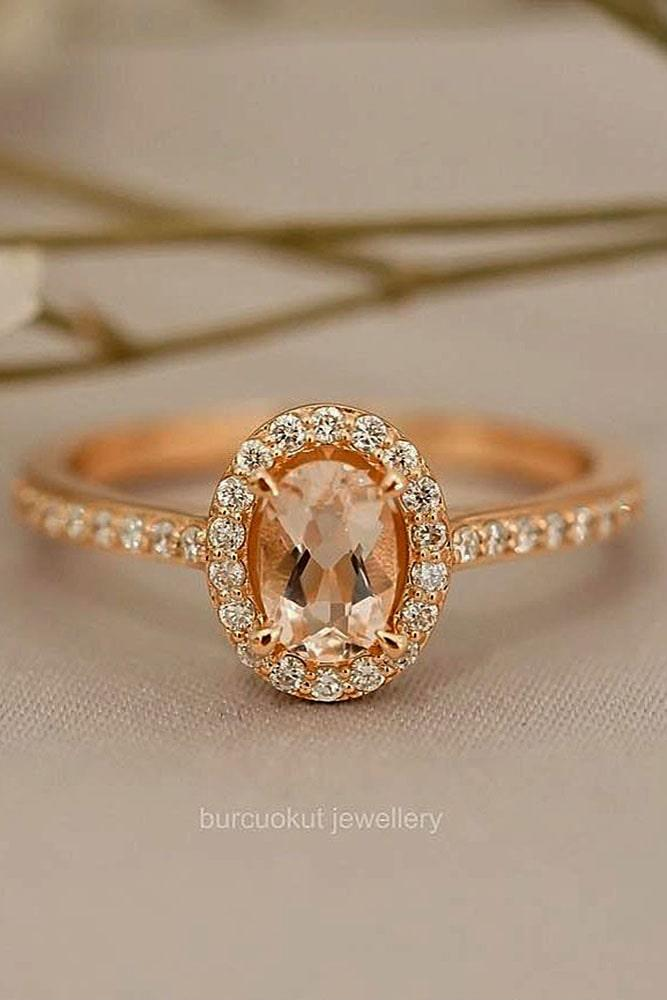 vintage engagement rings gemstone rings oval engagement rings rose gold engagement rings diamond pave band