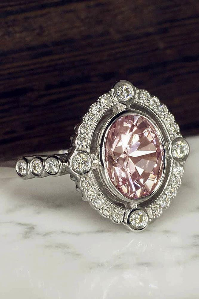 vintage engagement rings gemstone rings oval engagement rings white gold engagement rings diamond pave band