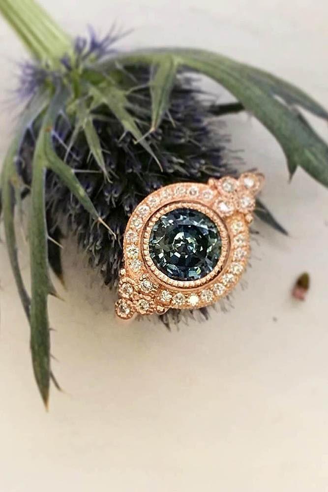 vintage engagement rings gemstone rings round engagement rings rose gold engagement rings diamond pave band