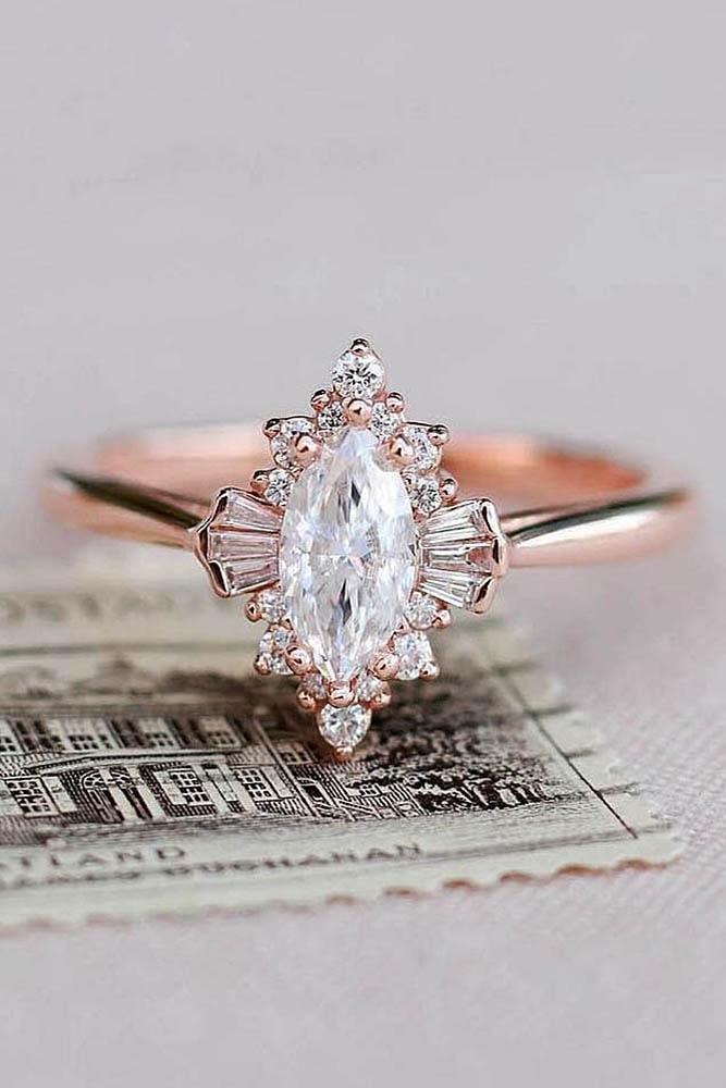 vintage engagement rings unique engagement rings rose gold engagement rings diamond engagement rings marquise cut rings