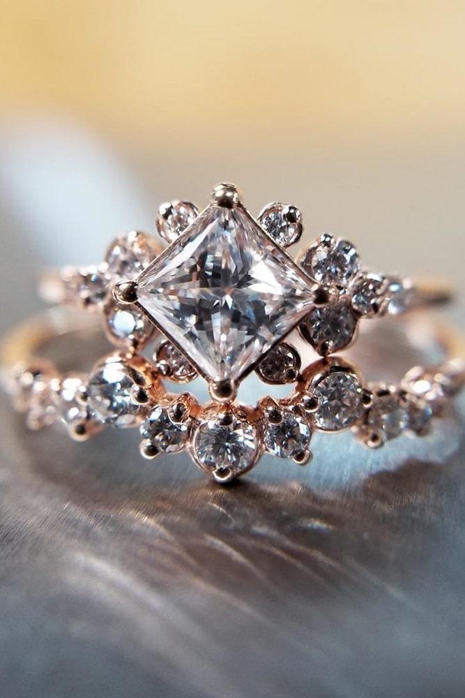 wedding ring sets rose gold engagement rings unique engagement rings floral engagagement rings