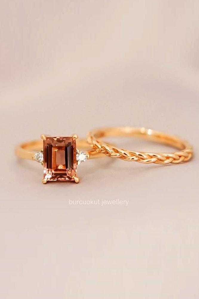 gemstone engagement rings rose gold engagement rings tourmaline engagement rings wedding set engagement rings emerald cut engagement rings