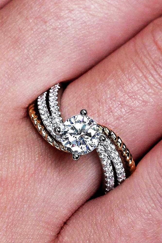 unique engagement rings two tone engagement rings round diamond engagement rings beautiful engagement rings rose gold white gold engagement rings