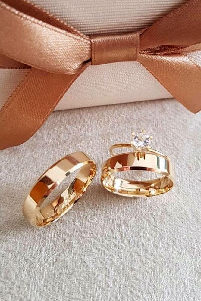 rose gold engagement rings solitaire simple classic wedding set diamond