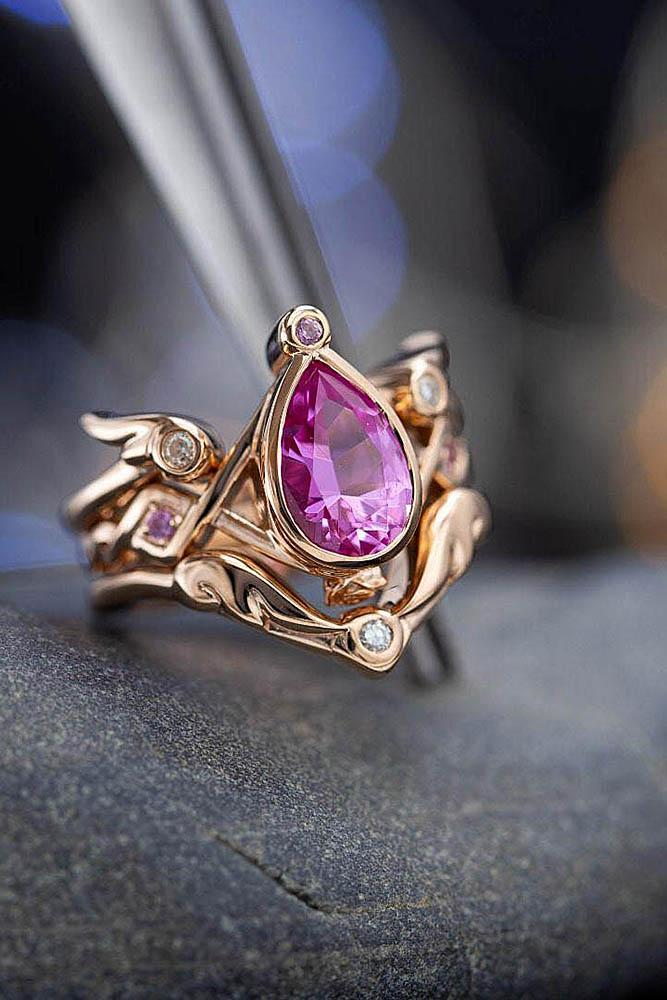 sapphire engagement rings unique engagement rings pink sapphire rings rose gold engagement rings pear shaped rings