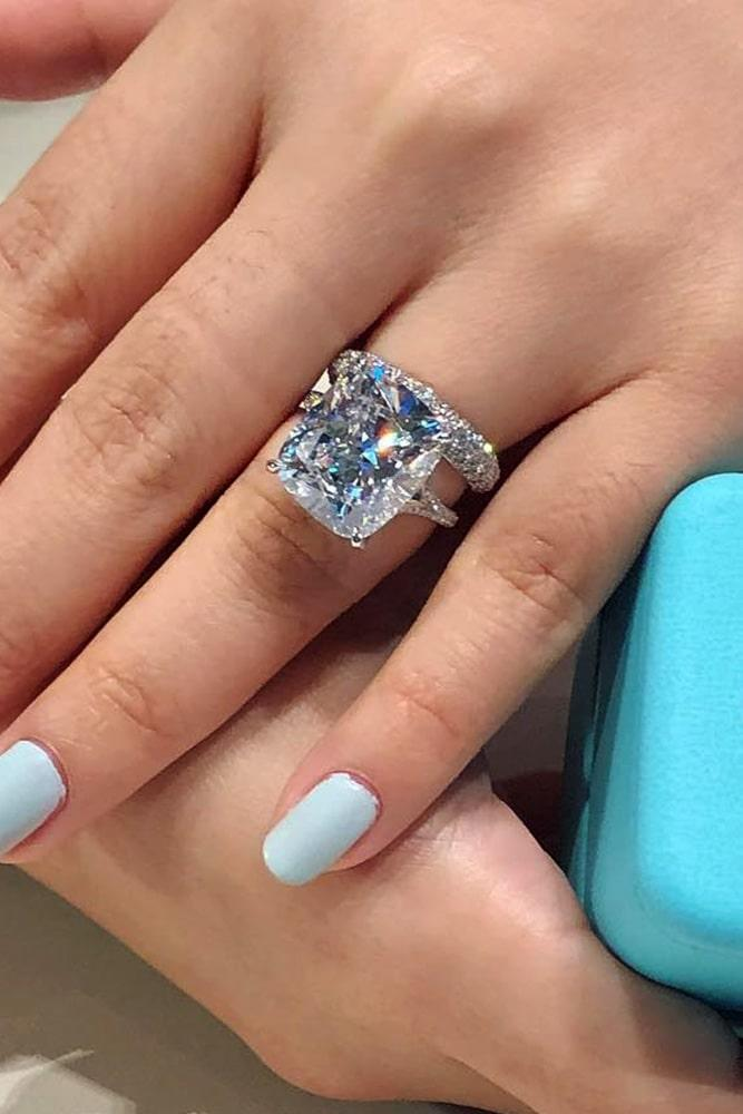 white gold engagement rings cushion cut engagement rings diamond engagement rings