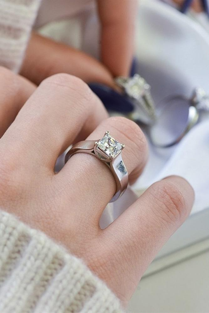 white gold engagement rings simple engagement rings princess cut engagement rings