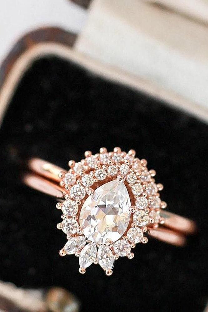 rose gold unique engagement rings beautiful engagement rings diamond engagement rings pear cut engagement rings