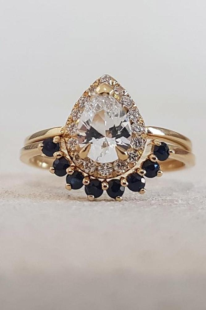 sapphire engagement rings pear cut diamond engagement rings rose gold engagement rings sapphire rings
