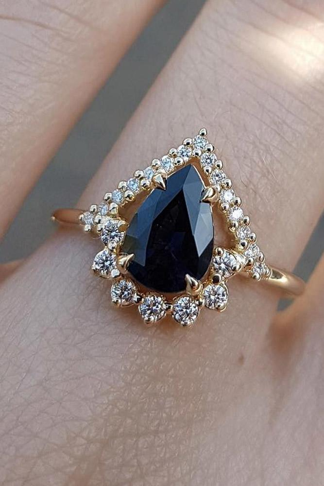 sapphire engagement rings pear cut sapphire engagement rings rose gold engagement rings