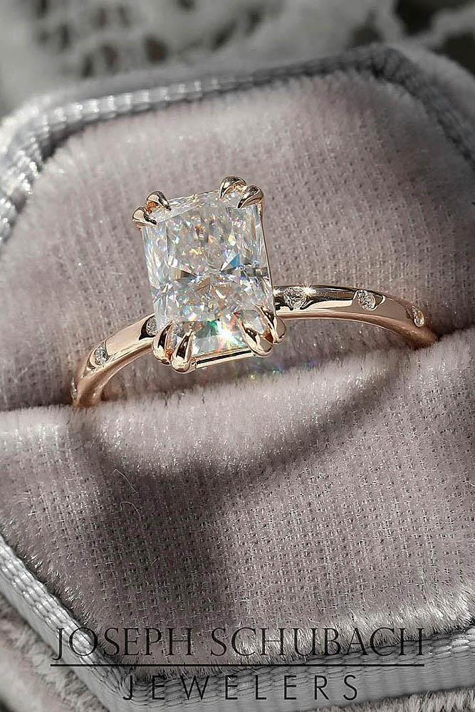 solitaire engagement rings rose gold engagement rings ring boxes emerald cut diamond rings