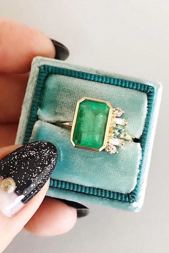vintage enagement rings unique engagement rings emerald engagement rings yellow gold engagement rings emerald cut engagement rings ring boxes