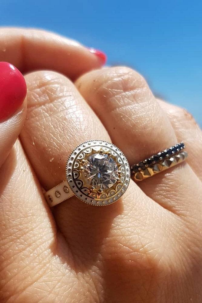 vintage engagement rings two tone engagement rings diamond engagement rings halo engagement rings unique rings