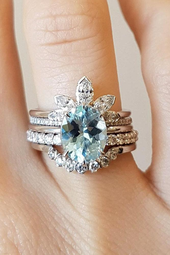 wedding ring sets white gold wedding ring sets oval engagement rings aquamarine rings floral rings