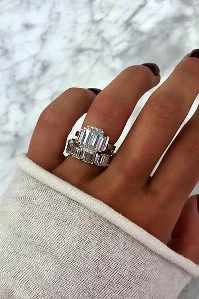 wedding ring sets white gold wedding rings emerald cut rings beautiful rings three stone engagement rings