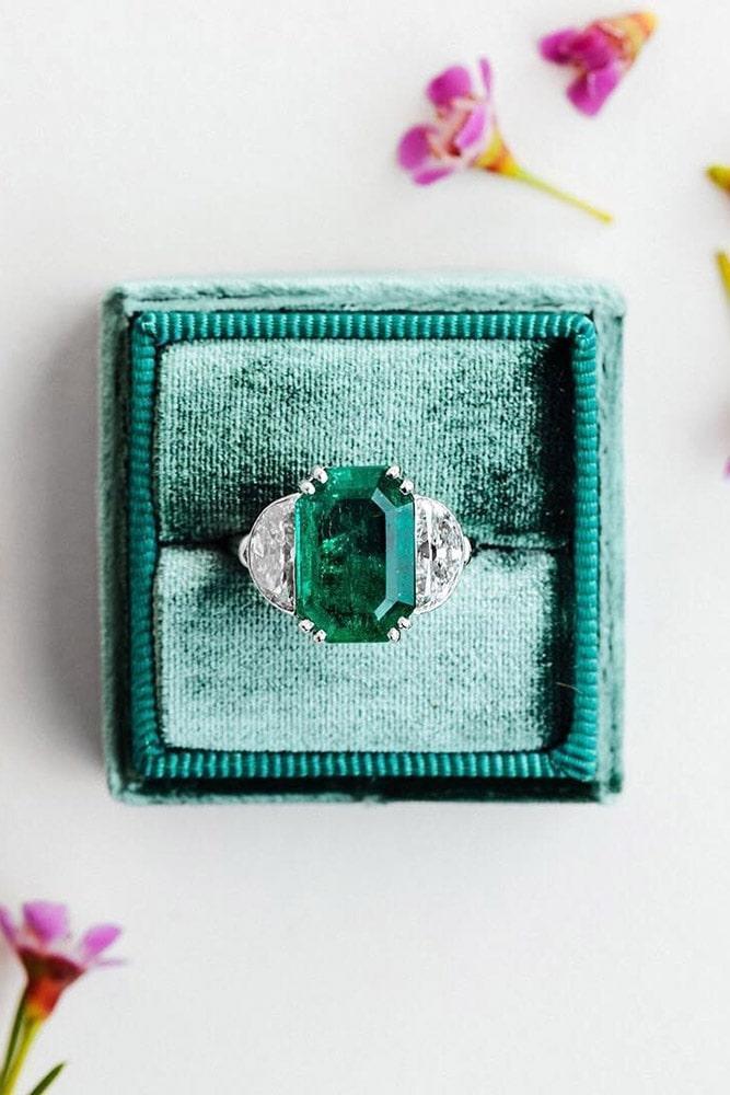 white gold engagement rings gemstone engagement rings ring boxes three stone engagement rings emerald cut engagement rings
