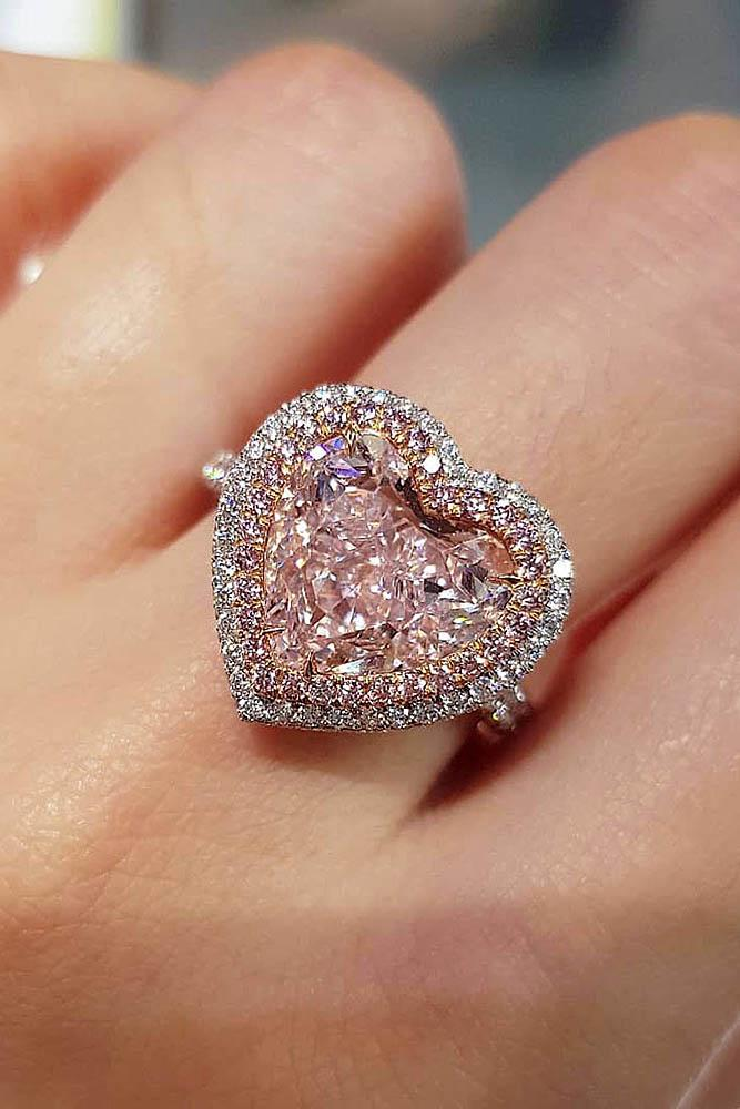 white gold engagement rings heart cut engagement rings halo rings pink diamond rings best engagement rings