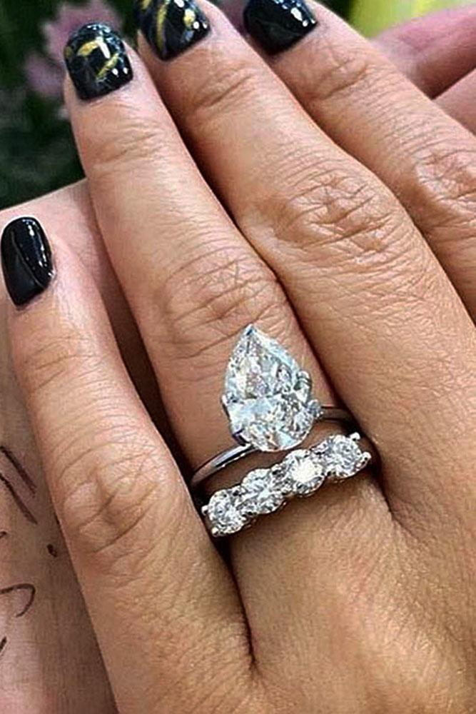 white gold engagement rings pear cut engagement rings wedding ring sets solitaire diamond rings