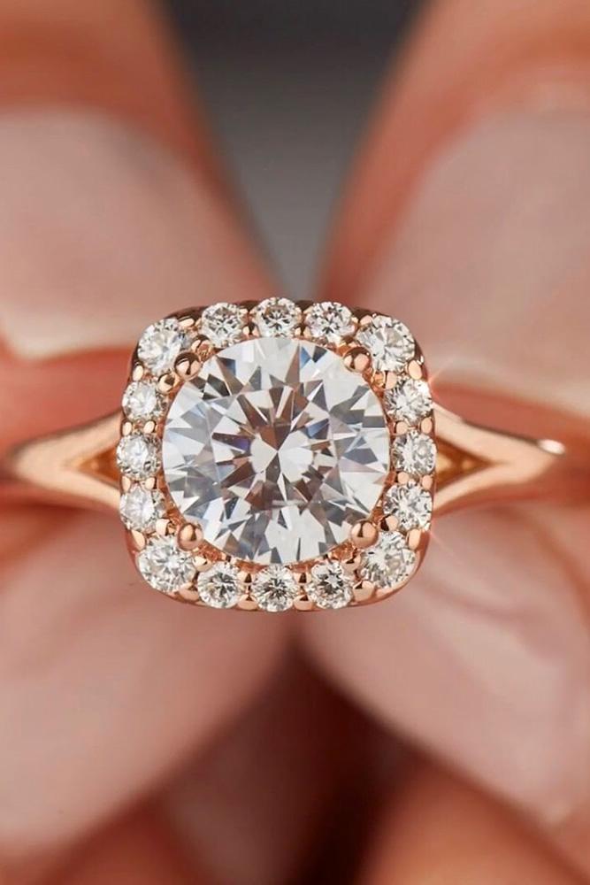 beautiful engagement rings rose gold engagement rings round diamond engagement rings halo engagement rings split shank