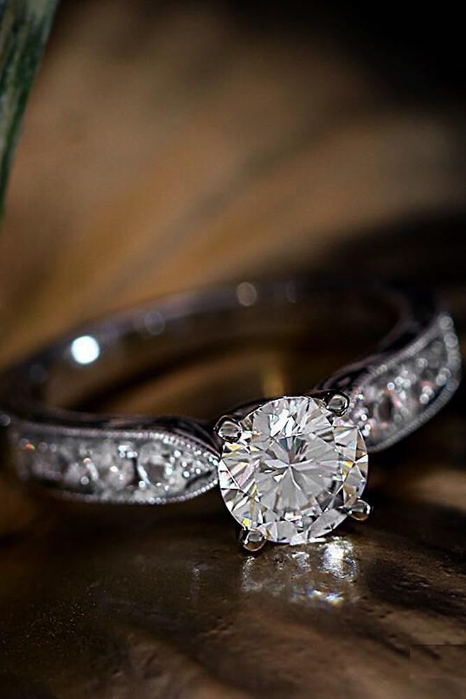 beautiful engagement rings round diamond engagement rings white gold engagement rings unique pave band