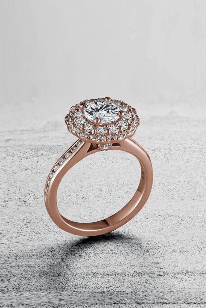 best rose gold engagement rings diamond engagement rings halo engagement rings round cut diamond rings beautiful engagement rings