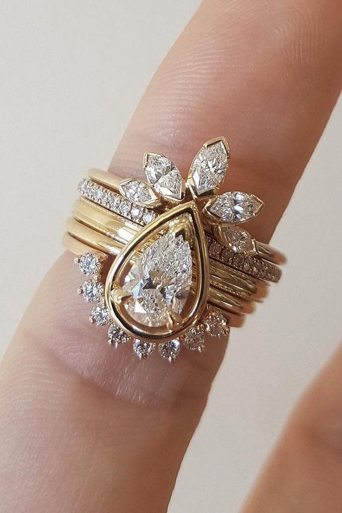 bridal sets pear cut wedding rings unique wedding rings unique bridal sets rose gold engagement rings