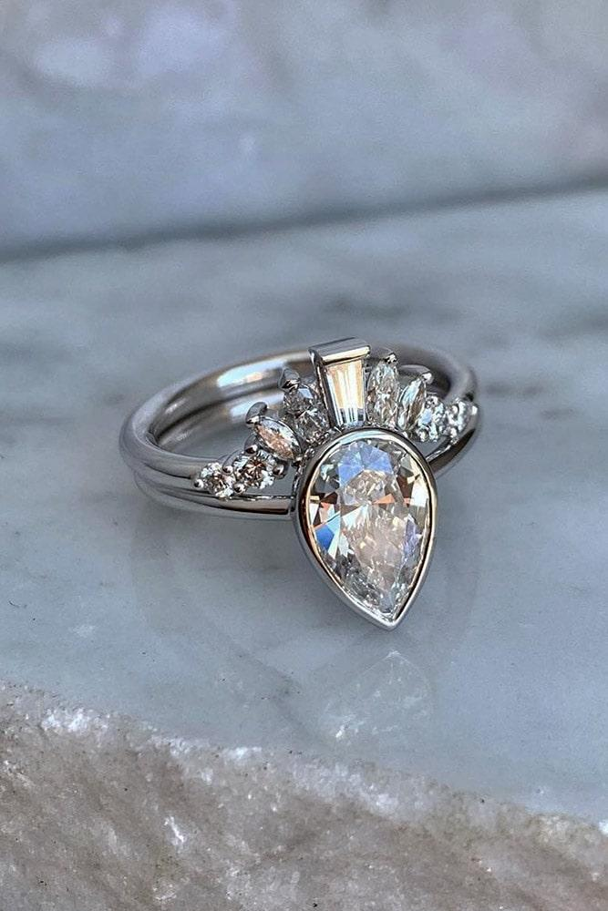 bridal sets pear cut wedding rings unique wedding rings unique bridal sets white gold engagement rings