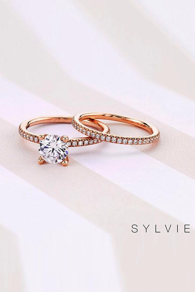 bridal sets rose gold wedding rings rose gold engagement rings diamond engagement rings round engagement rings